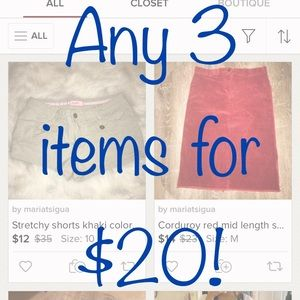 SALE! Any 3 items for $20!